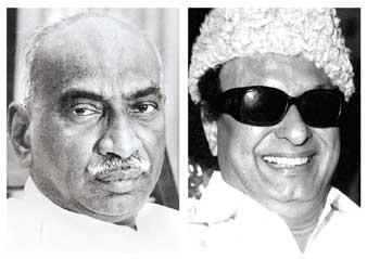 দুই রাজনীতি, এক নীতি। কে কামরাজ (বাঁ দিকে) এবং এম জি রামচন্দ্রন।