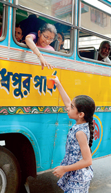 তৃষ্ণার বারি। শুক্রবার পার্ক সার্কাসে স্বাতী চক্রবর্তীর তোলা ছবি।