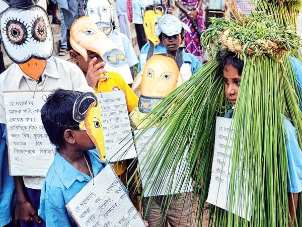 সবুজ বাঁচাও অভিযানে সামিল খুদেরা। ছবি: দয়াল সেনগুপ্ত