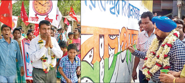 (বাঁ দিকে) প্রচারে এনসিপি-র প্রার্থী সুরিজৎ ঘোষ। (ডান দিকে) দেওয়াল লিখছেন তৃণমূল প্রার্থী রচপাল সিংহ। ছবি: দীপঙ্কর দে
