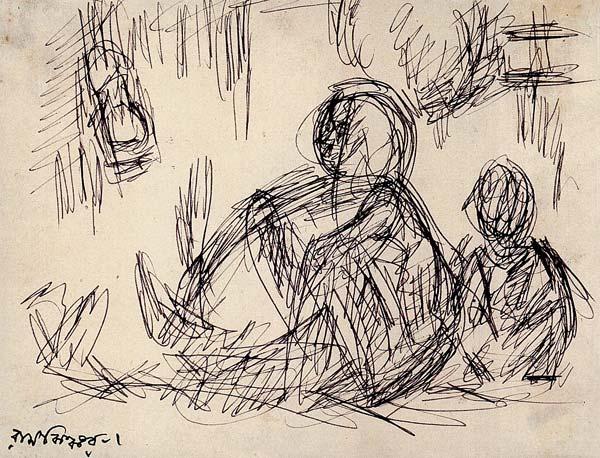 মা ও ছেলে: রামকিঙ্কর বেজ-এর ছবিতে ফুটে উঠেছে মা ও সন্তানের পরিবারের দিনলিপি। যেখানে বিত্ত নয়, ভালবাসাই মূল সম্পদ