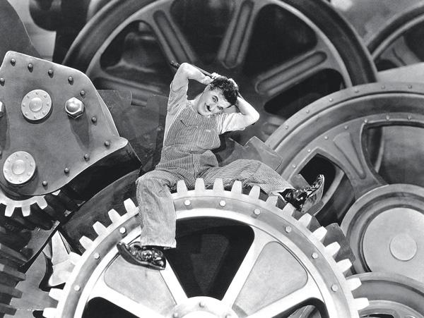 যন্ত্রসভ্যতা:  ১৯৩৬-এ 'মর্ডান টাইমস' ছবির একটি দৃশ্যে চার্লি চ্যাপলিন