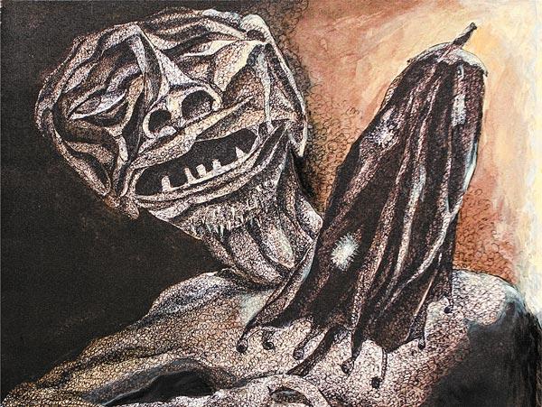 সময়চিহ্ন: সমীর কুণ্ডুর 'ক্রুশ দ্য পাথ' প্রদর্শনীর একটি ছবি