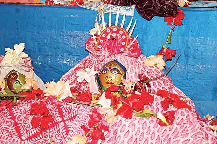 আরাধ্যা: মনসাদ্বীপের গ্রামে সুসজ্জিত দেবী মনসার ঘট।