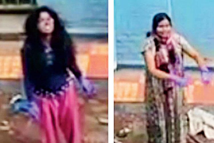 অভিযুক্ত: সোমা বর্মণ (উপরে) ও মৌটুসি মণ্ডল। ভিডিয়ো-চিত্র