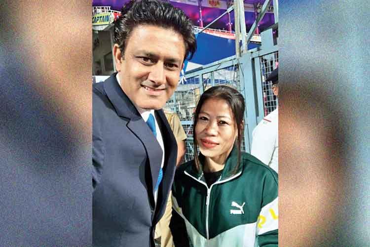 পাশাপাশি: বক্সার মেরি কমের সঙ্গে অনিল কুম্বলে। টুইটার