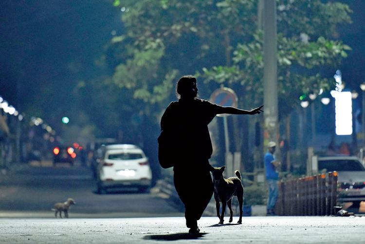 একা: শহরের রাত-পথে। সল্টলেক সেক্টর ফাইভে। ছবি: সুদীপ্ত ভৌমিক