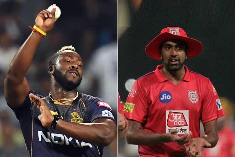রাসেল ও অশ্বিন। দু' জনের ক্রিকেটদর্শন ভিন্ন। ছবি: এএফপি ও এপি।