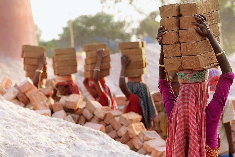 বহন: ইটভাটার কাজে। বুধবার নারী দিবসের প্রাক্কালে সিউড়ির কাছে। ছবি: তাপস বন্দ্যোপাধ্যায়
