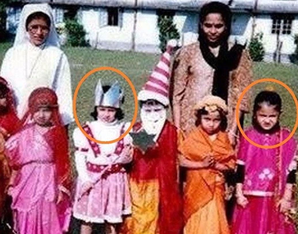 সাক্ষী ধোনি এবং অনুষ্কা শর্মা: দু'জনের মধ্যে মিল কোথায়? সবাই একবাক্যে বলবেন দু'জনেই ক্রিকেটারের স্ত্রী। কিন্তু জানেন কি তাঁদের দু'জনের মধ্যে আরও একটা মিল রয়েছে? দু'জনে সহপাঠী ছিলেন। পাশের ছবিটা স্কুলের একটা অনুষ্ঠানে। যেখানে গোলাপি ঘাগরা-চোলি পরে রয়েছেন অনুষ্কা আর সাক্ষীর পরনে পরীর পোশাক।