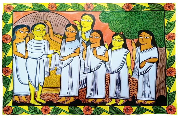 পরিত্রাতা: বিদ্যাসাগরকে আশীর্বাদ করছেন বিধবারা। নয়া গ্রামের বাহাদুর চিত্রকরের আঁকা পটচিত্র। ছবি সৌজন্য: চালচিত্র অ্যাকাডেমি