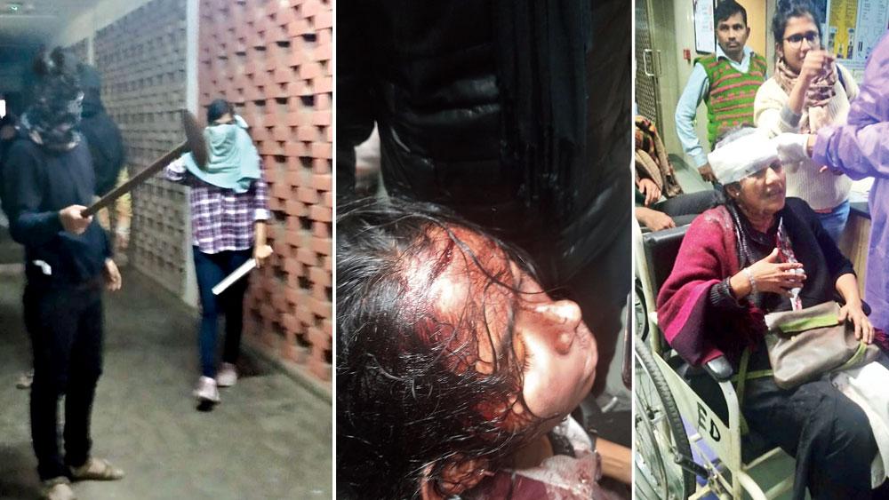 তাণ্ডব: জেএনইউ চত্বরে দুষ্কৃতীরা (বাঁ দিকে)। রক্তাক্ত জেএনইউ ছাত্র সংসদের সভানেত্রী ঐশী ঘোষ (মাঝে)। জখম অধ্যাপিকা সুচরিতা সেন এমসে। রবিবার। ছবি: সোশ্যাল মিডিয়া