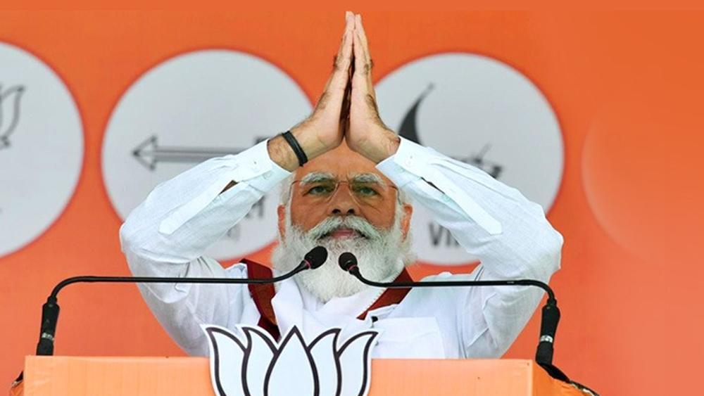 দ্বারভাঙার জনসভায়  প্রধানমন্ত্রী নরেন্দ্র মোদী। বুধবার। বিজেপির টুইটার থেকে নেওয়া ছবি