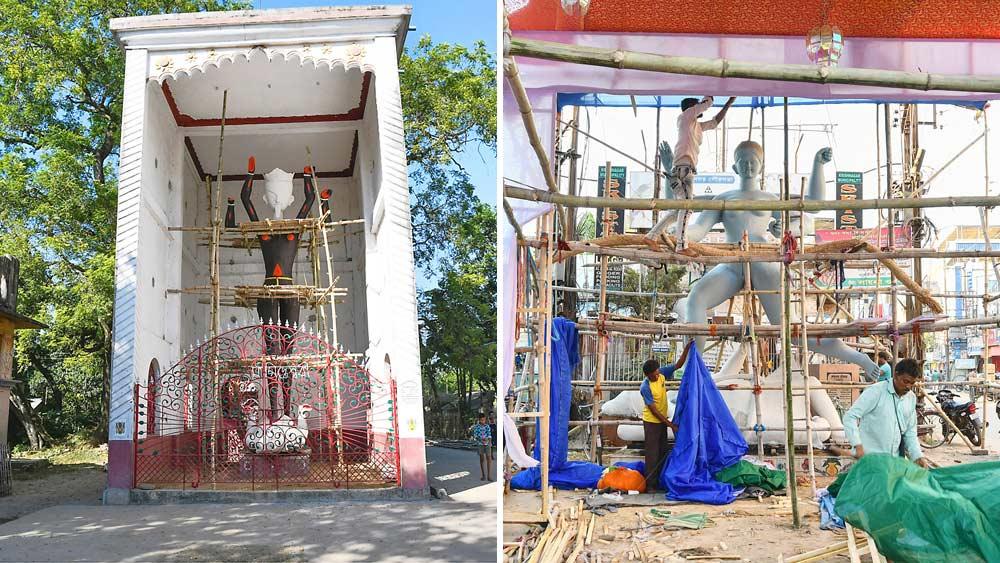 ঢাউস: বেলপুকুর সিদ্ধেশ্বরীতলার কালী প্রতিমা (বাঁ দিকে)। কৃষ্ণনগরের চ্যালেঞ্জ ক্লাবের প্রতিমা (ডানদিকে)। নিজস্ব চিত্র।
