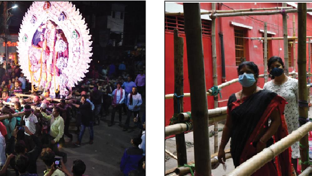 গত বছর রাসে সাং। ডান দিকে, এ ভাবে ঘেরাটোপে দেখতে হবে চাষাপাড়া বুড়িমার প্রতিমা। নিজস্ব চিত্র।
