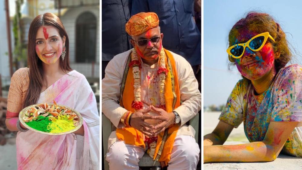 টলিউড থেকে রাজনীতি। রং ছুঁয়ে গেল সবাইকে। বাঁ দিক থেকে প্রিয়ঙ্কা সরকার, দিলীপ ঘোষ ও দিতিপ্রিয়া রায়।