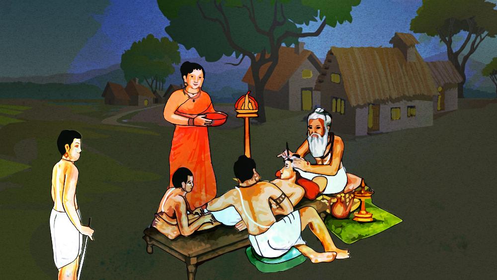 ভারতীয় আয়ুর্বেদ চর্চা। অলঙ্করণ: শৌভিক দেবনাথ।