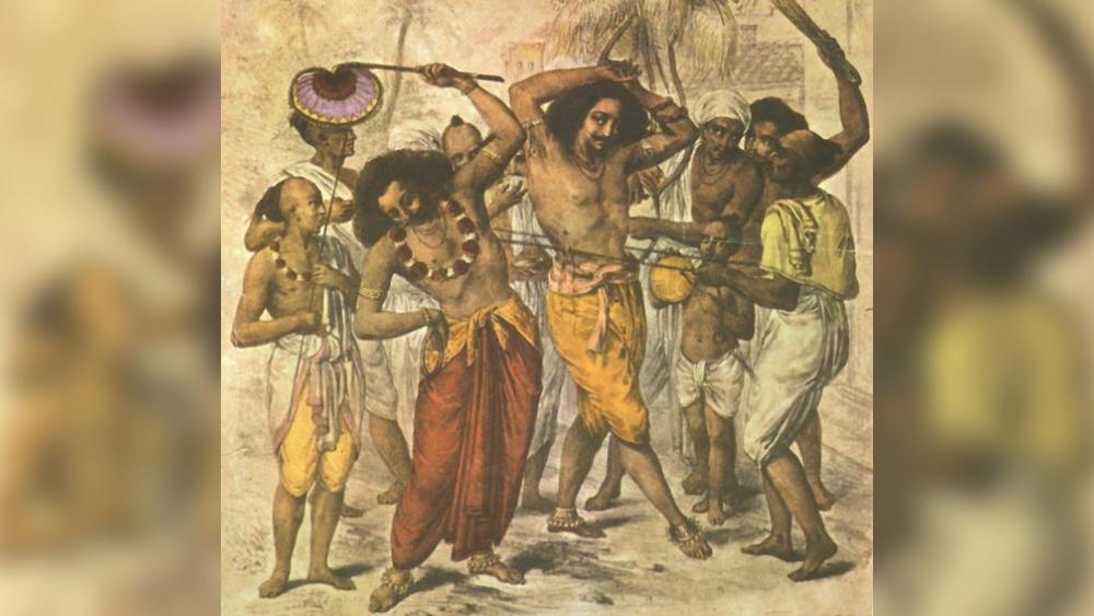 পুরনো কলকাতার চড়ক, শিল্পী এস সি বেলনোসের তুলিতে। ছবি: আনন্দবাজার আর্কাইভ থেকে।
