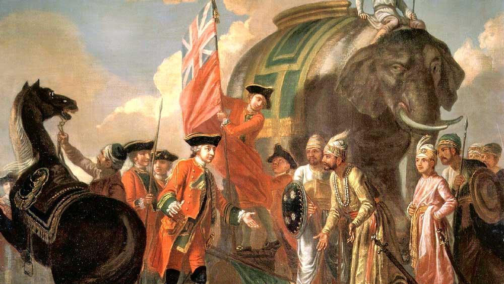 বিজয়ী: রবার্ট ক্লাইভ ও মিরজাফর, পলাশির যুদ্ধ শেষে। শিল্পী ফ্রান্সিস হেম্যান।