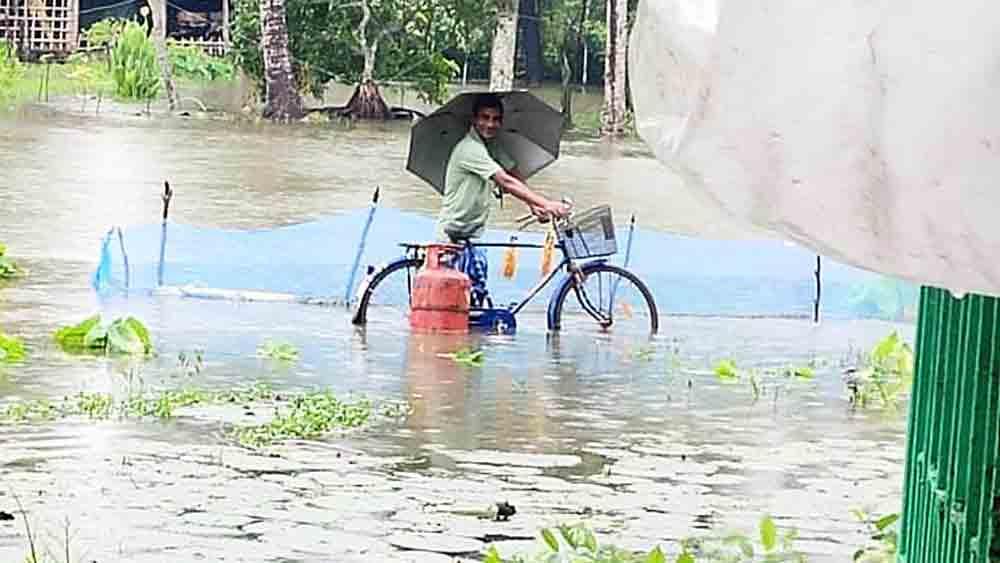ভোগান্তি: দাউদপুরের বহু এলাকায় এখনও জমে জল।
