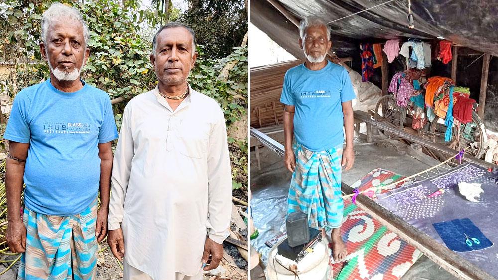 রহিম বক্স লস্কর ও ভারতচন্দ্র হালদার। ডান দিকে, আমপানে ভেঙে পড়া ঘরে রহিম বক্স লস্কর।