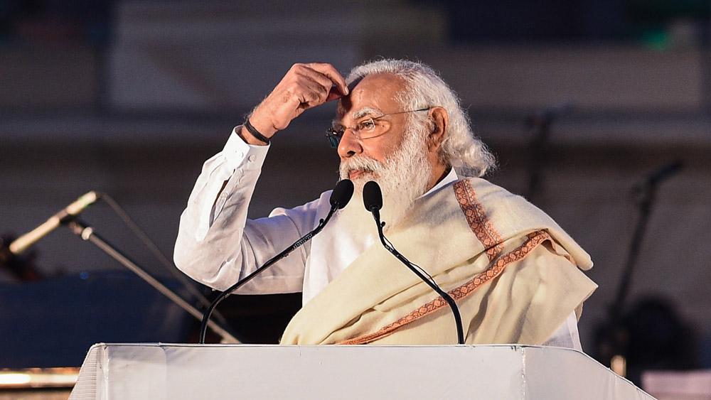 ভিক্টোরিয়া মেমোরিয়ালে বক্তৃতা দিচ্ছেন নরেন্দ্র মোদী।
