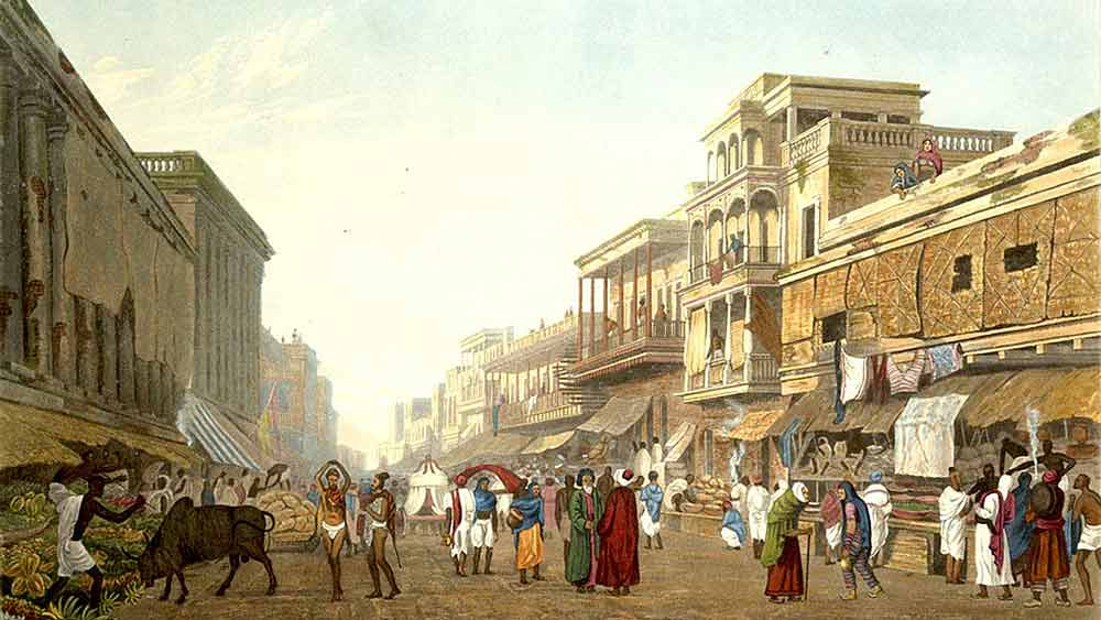 অতীতচারী: শিল্পী জেমস বেলি ফ্রেজ়ারের রেখায় চিৎপুর বাজার (১৮২৬)।