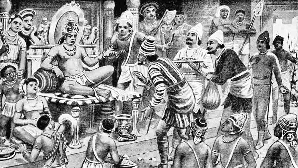 গ্রহণ: চালুক্যরাজের দরবারে উপস্থিত পারস্যের দূত। ছবি সৌজন্য: উইকিমিডিয়া কমনস