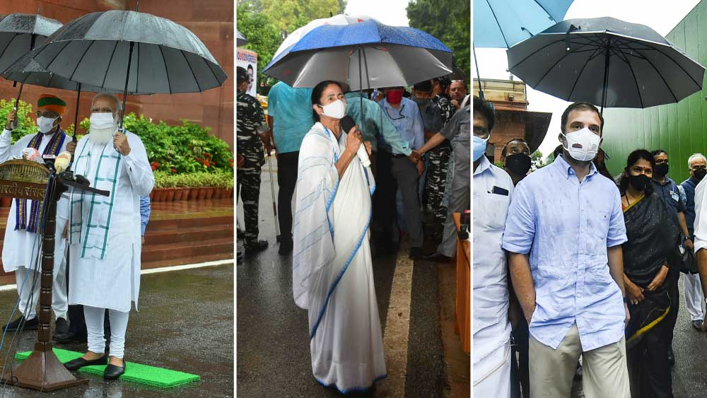 'ছাতা-রাজনীতির' রকমফের। মোদী, মমতা এবং রাহুল।