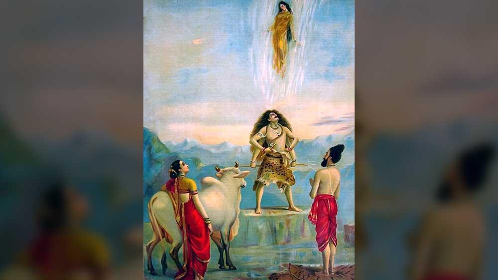 গঙ্গাবতরণ, রাজা রবি বর্মার তুলিতে। সূত্র: উইকিপিডিয়া