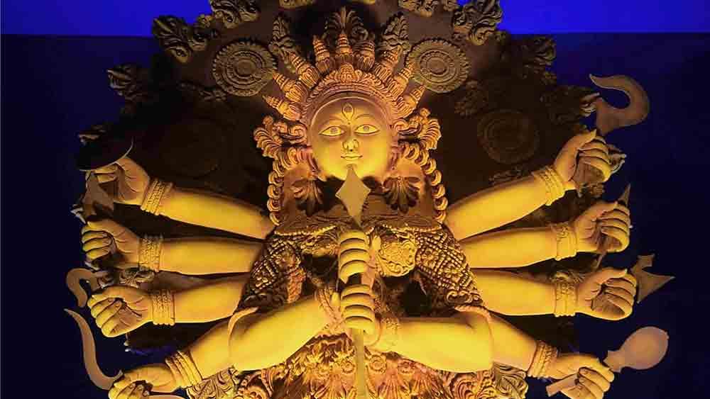 উলুবেড়িয়া নোনা অ্যাথলেটিকস ক্লাবের প্রতিমা। ছবি: সুব্রত জানা