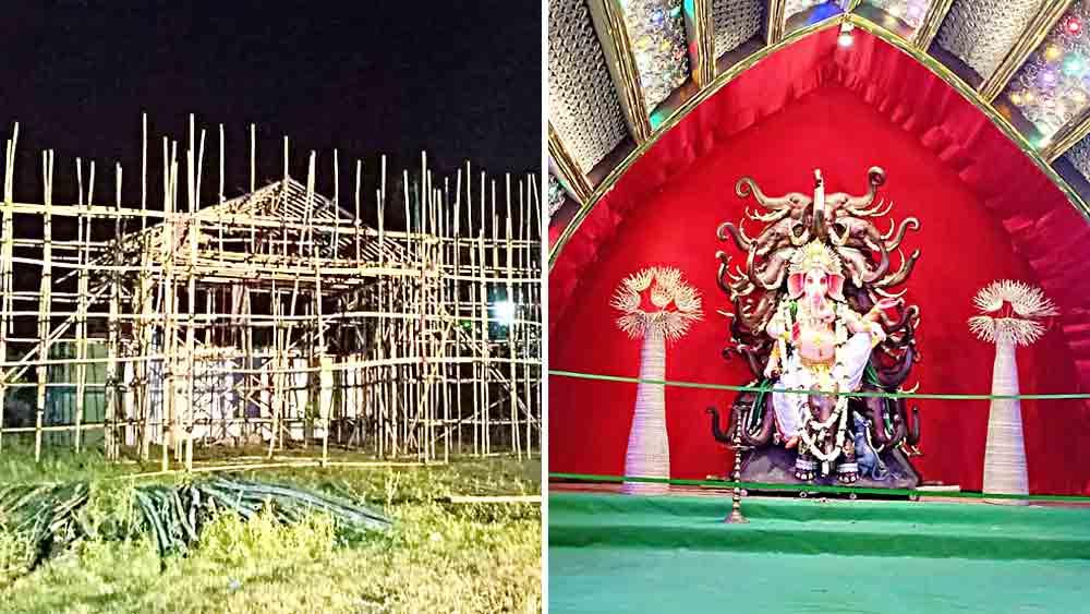 প্রস্তুতি চলছে দুর্গাপুজোর (বাঁদিকে)। একই মাঠে বুধবারই শুরু হয়ে গিয়েছে গণেশ পুজো। নিজস্ব চিত্র
