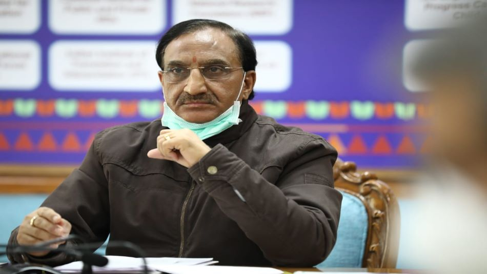 Union education minister Ramesh Pokhriyal chaired a high-level review meeting. SOURCE: Twitter