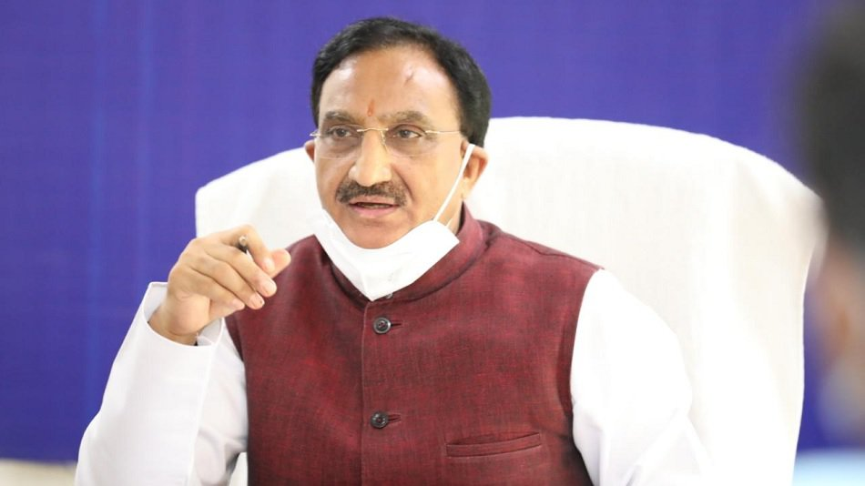 Union education minister Ramesh Pokhriyal Nishank spoke about the Centres study-in-India campaign. PHOTO: Twitter