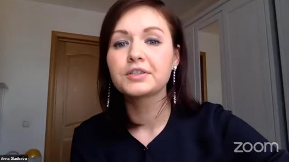 Anna Gladkova was the keynote speaker on the first day of the webinar series. PHOTO: Video grab from IAMCR-Adamas University Webinar
