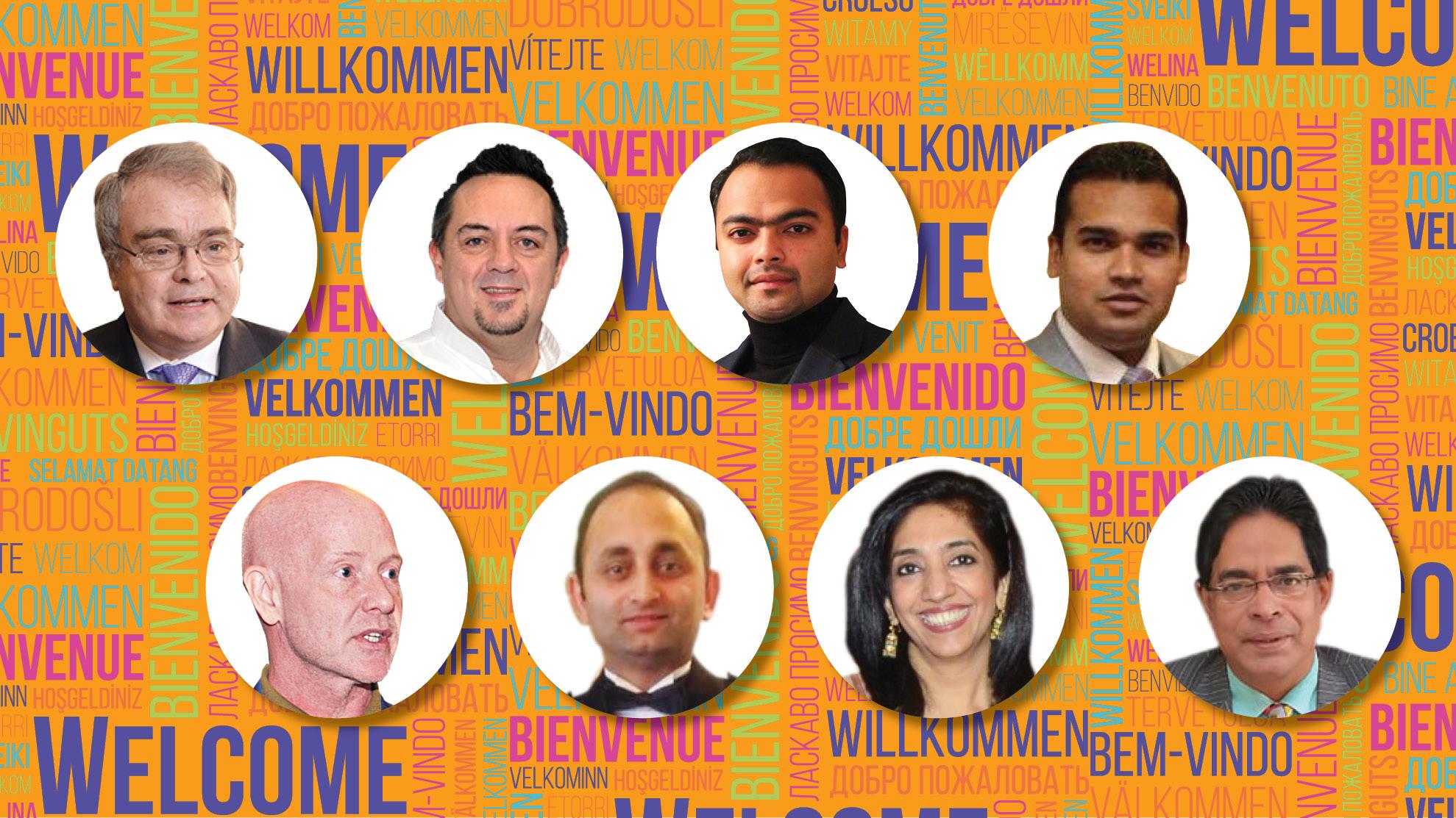 (First row, from left) David Foskett, Shaun Kenworthy, Syed Jeff Hussain and Sarfaraz Alam. (Second row, from left) Keith W. Edgar, Awinash Kumar, Ritu Jolly and Suborno Bose.