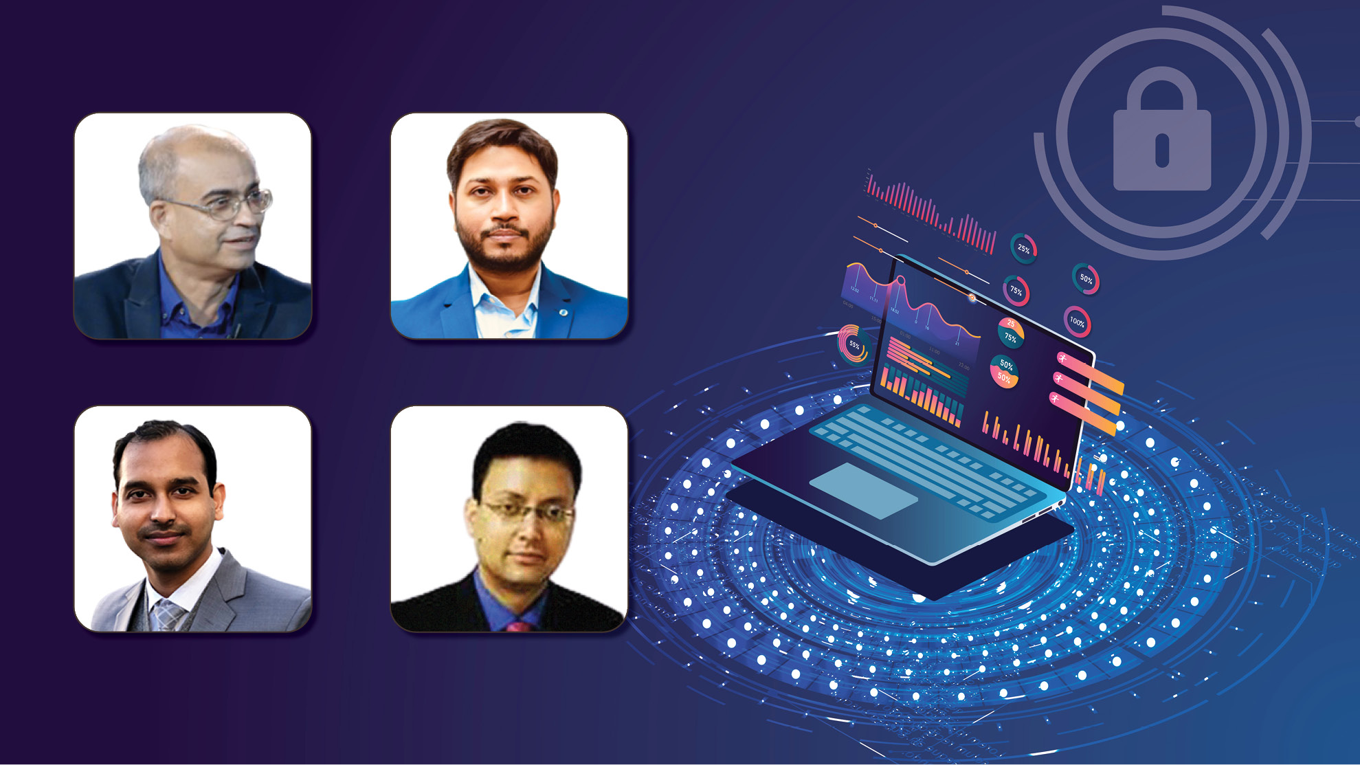 (First row, from left) Charanpreet Singh and Angshuman Ghosh. (Second row, from left) Sharath Ghosh and Nirupam Sen (moderator).