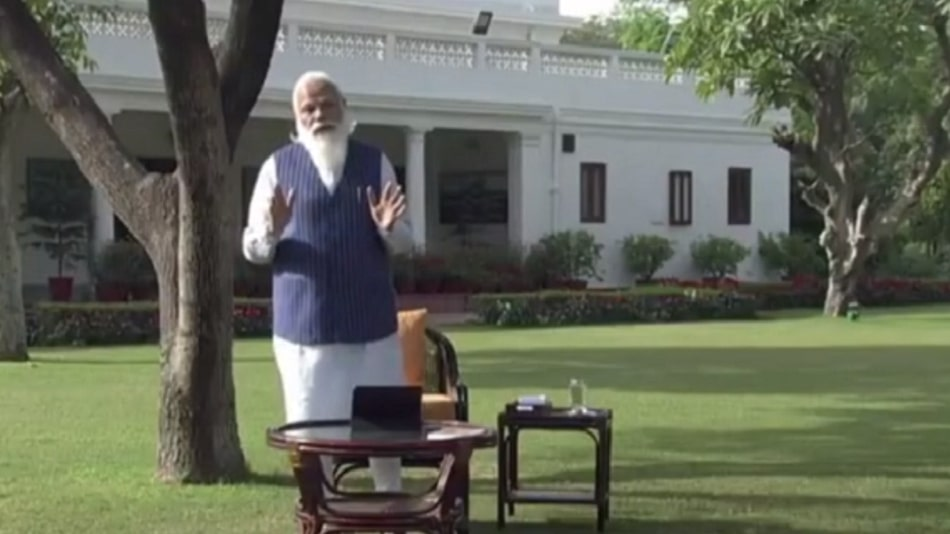 Prime Minister Narendra Modi addressed students, teachers and parents online in Pariksha Pe Charcha 2021. Image Source: Twitter