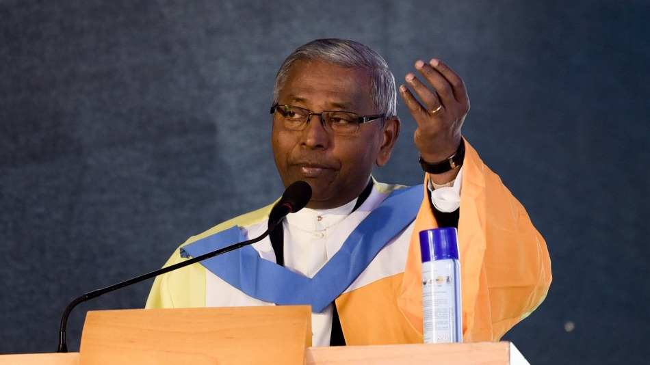 Vice-chancellor Father Felix Raj at the second convocation ceremony of St. Xavier's University, Kolkata. Image Source: Ankit Datta