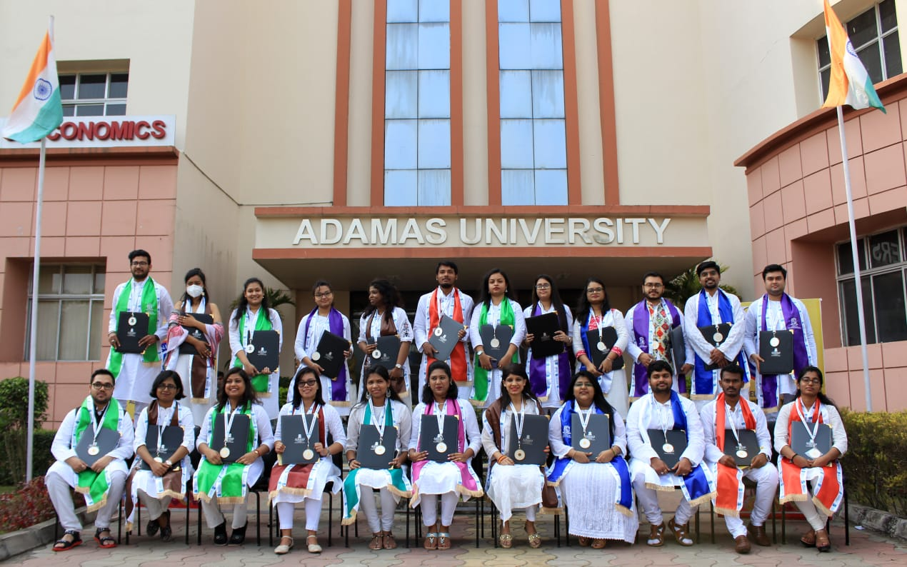 Rank holders pose with their medals after the convocation at Adamas University. Source: Adamas University