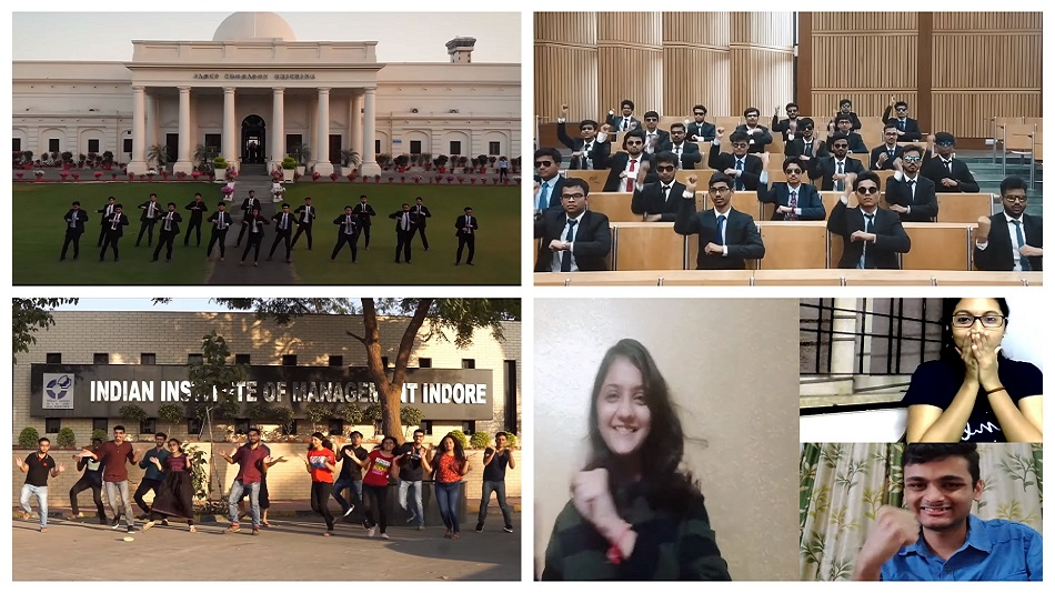 Clockwise from top left: Students of IIT Roorkee, IIT Delhi, IIM Udaipur and IIM Indore in YouTube videos shot by them.