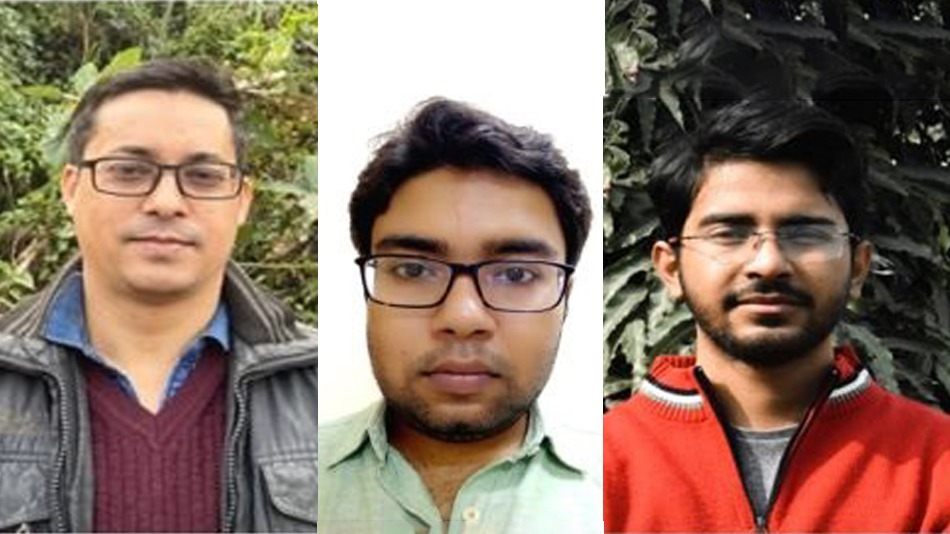 (From left) Professor Amarendra Kumar Sarma and his research scholars Subhadeep Chakraborty and Sampreet Kalila of IIT Guwahati. Image Source: IIT Guwahati