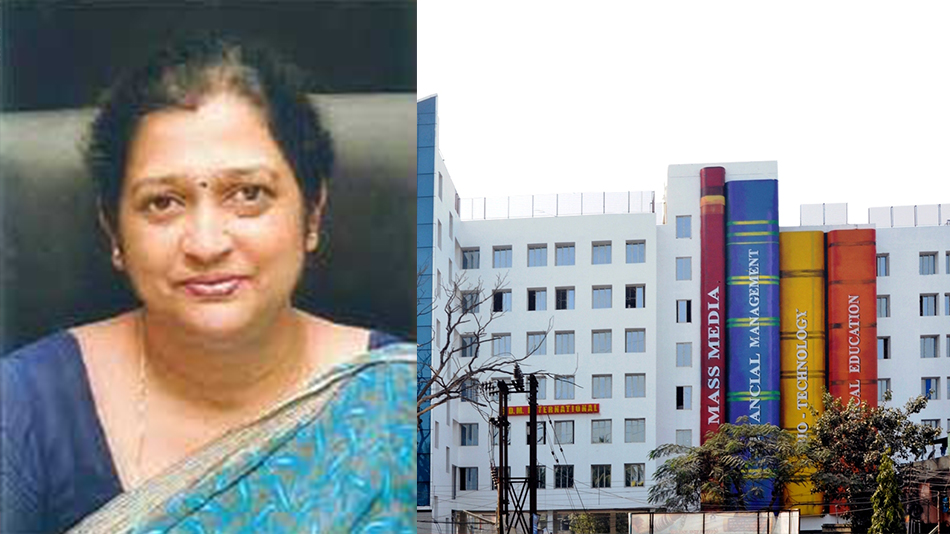 (From left) Vijaya Chaudhuri, the principal of B.D.M. International, and the school building. Picture source: B.D.M. International