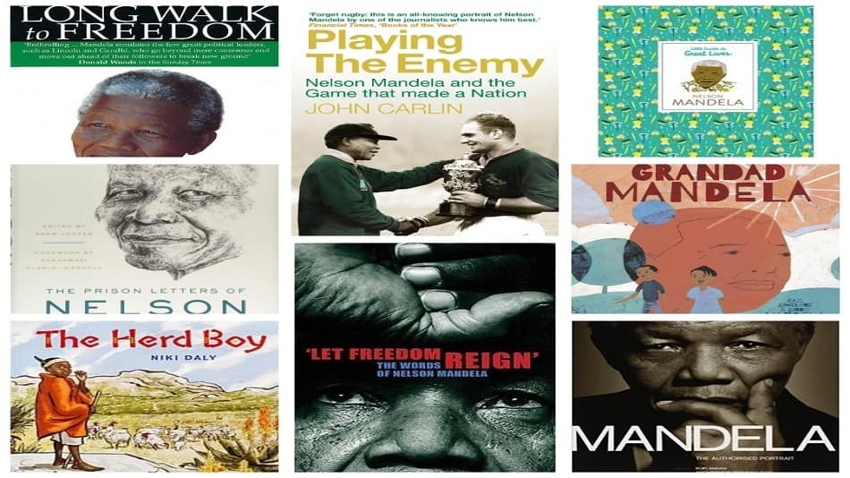 clockwise - Covers of Long Walk to Freedom; Playing the Enemy; Nelson Mandela: Little Guides to Great Lives; Grandad Mandela; Mandela: The Authorized Portrait; Let The Freedom Reign; The Herd Boy; Prison Letters