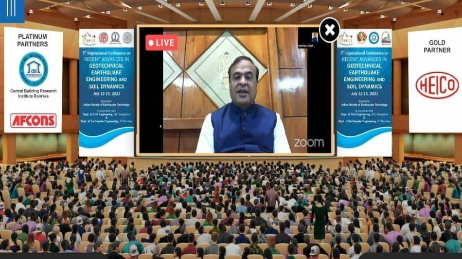 Assam chief minister Himanta Biswa Sarma virtually addresses the 7th edition of ICRAGEE International Conference hosted by IIT Guwahati Image: IIT Guwahati
