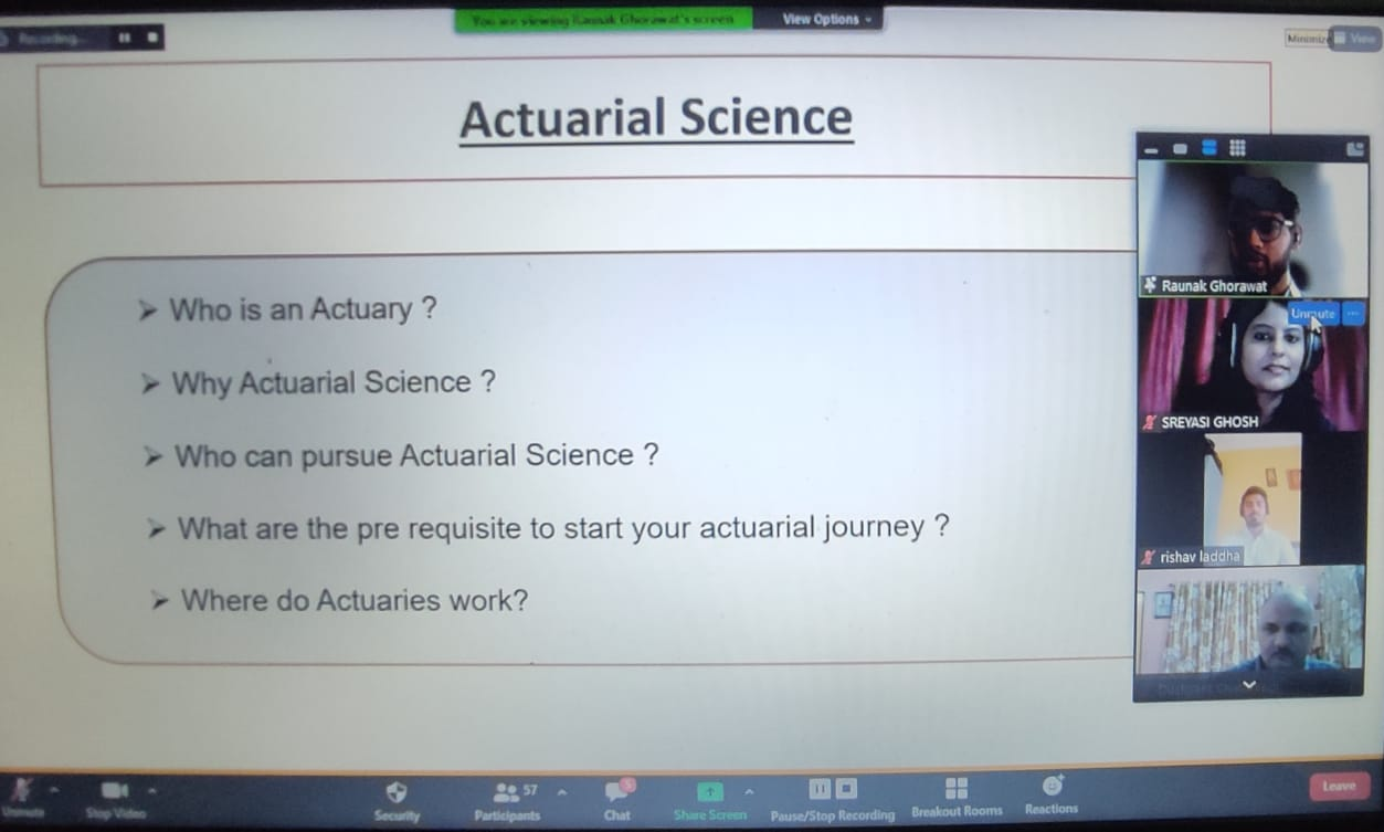 The webinar on Actuarial Science conducted by The Bhawanipur Education Society College.