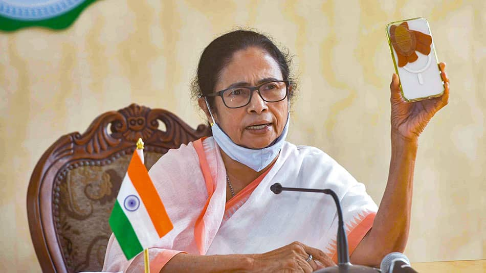 West Bengal chief minister Mamata Banerjee announced two schemes for teachers and students at a press conference at Nabanna on July 22. Image source: PTI