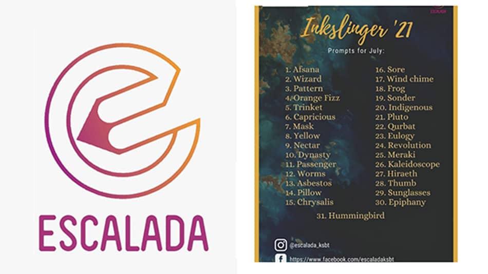 Escalada logo and Inkslinger'21 Prompt List (L-R) Source: Escalada, KSBT.