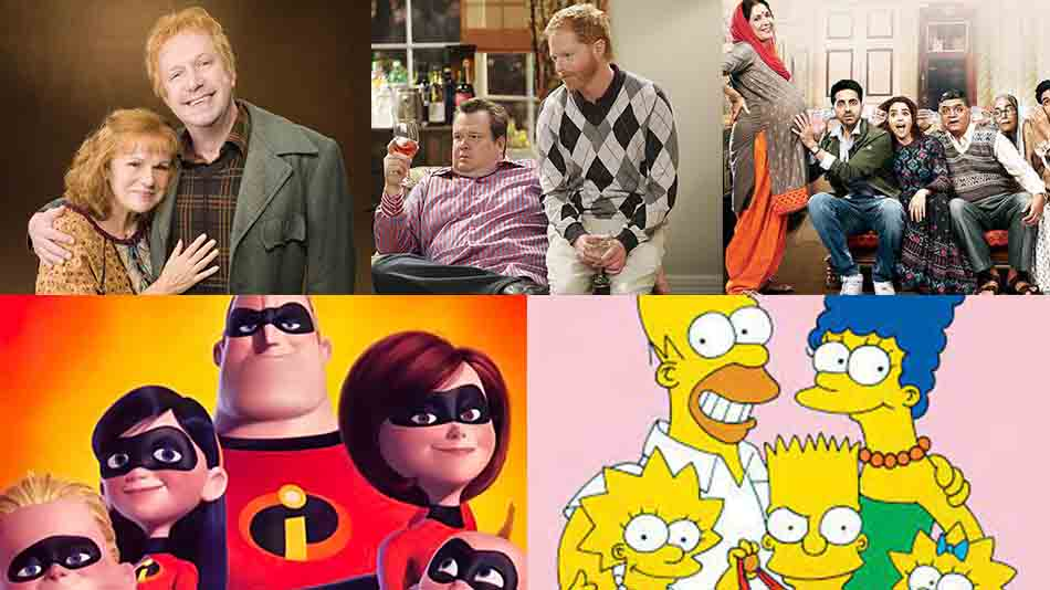 (L-R, clockwise) Harry Potter, Modern Family, Badhaai ho, The Incredibles, and The Simpsons