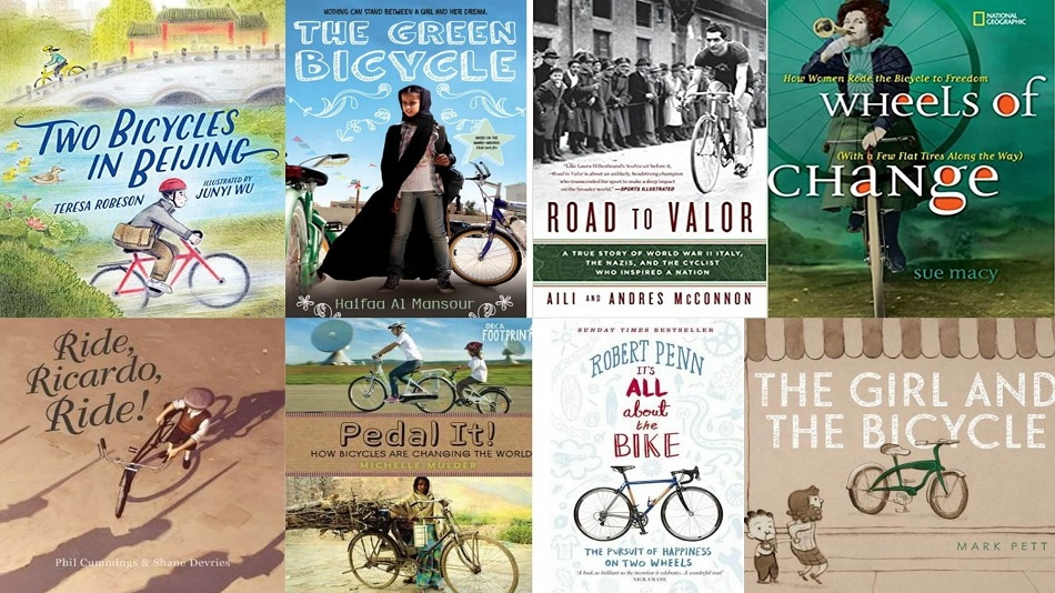 (L – R clockwise) Two Bicycles In Beijing, The Green Bicycle, Road to Valor, Wheels of Change, The Girl and the Bicycle, It's All About the Bike, Pedal It, Ride, Ricardo, Ride.